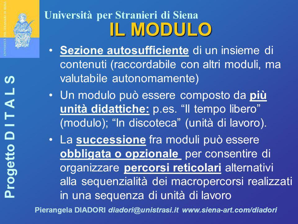 IL MODULO Sezione autosufficiente di un insieme di contenuti (raccordabile con altri moduli, ma valutabile autonomamente)