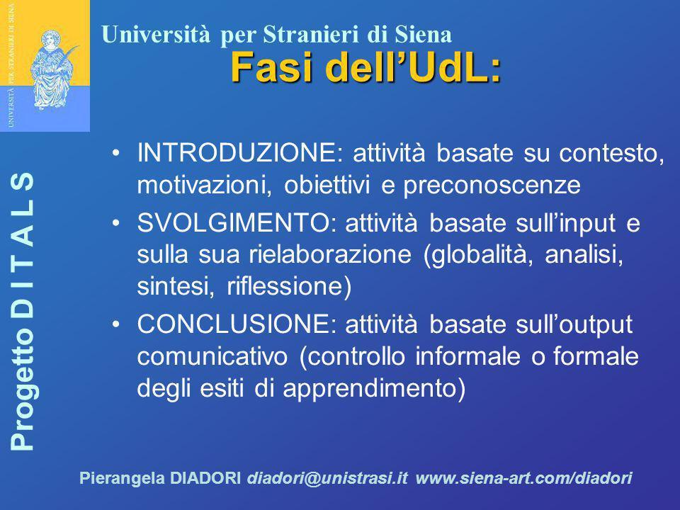 Fasi dell'UdL: INTRODUZIONE: attività basate su contesto, motivazioni, obiettivi e preconoscenze.