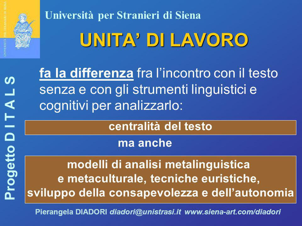 UNITA' DI LAVORO fa la differenza fra l'incontro con il testo senza e con gli strumenti linguistici e cognitivi per analizzarlo: