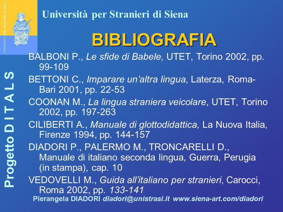 BIBLIOGRAFIA BALBONI P., Le sfide di Babele, UTET, Torino 2002, pp. 99-109. BETTONI C., Imparare un'altra lingua, Laterza, Roma-Bari 2001, pp. 22-53.