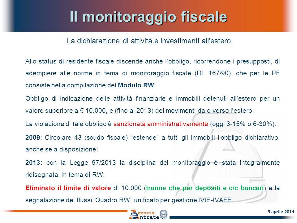 Il monitoraggio fiscale