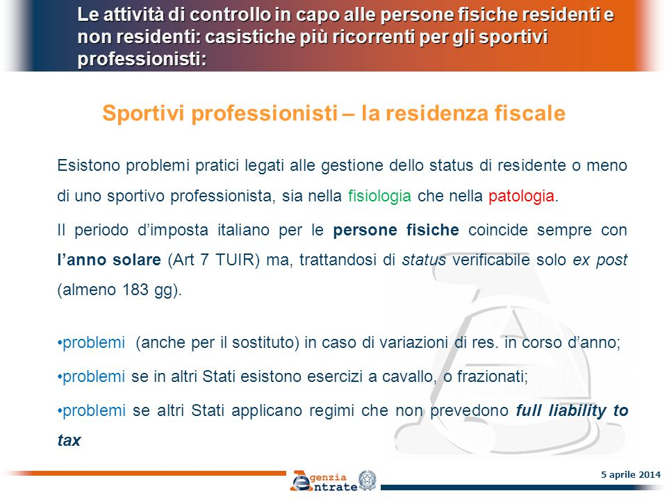 Sportivi professionisti – la residenza fiscale