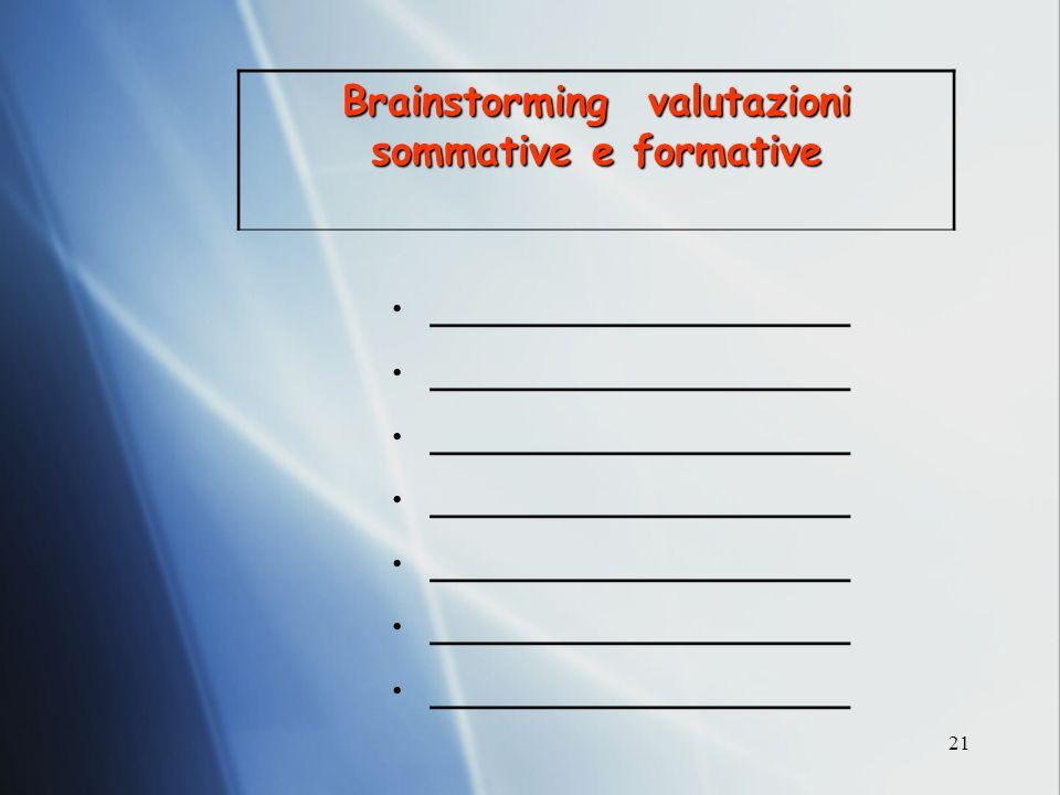 Brainstorming valutazioni sommative e formative