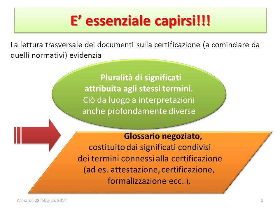 E' essenziale capirsi!!! La lettura trasversale dei documenti sulla certificazione (a cominciare da quelli normativi) evidenzia.