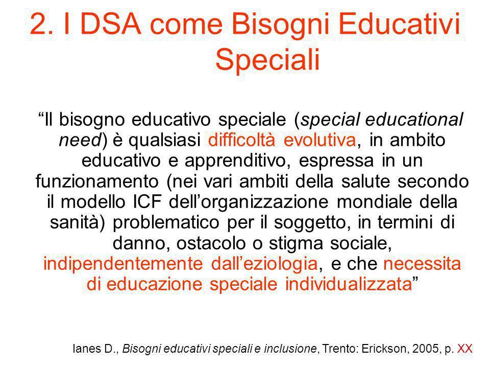 2. I DSA come Bisogni Educativi Speciali