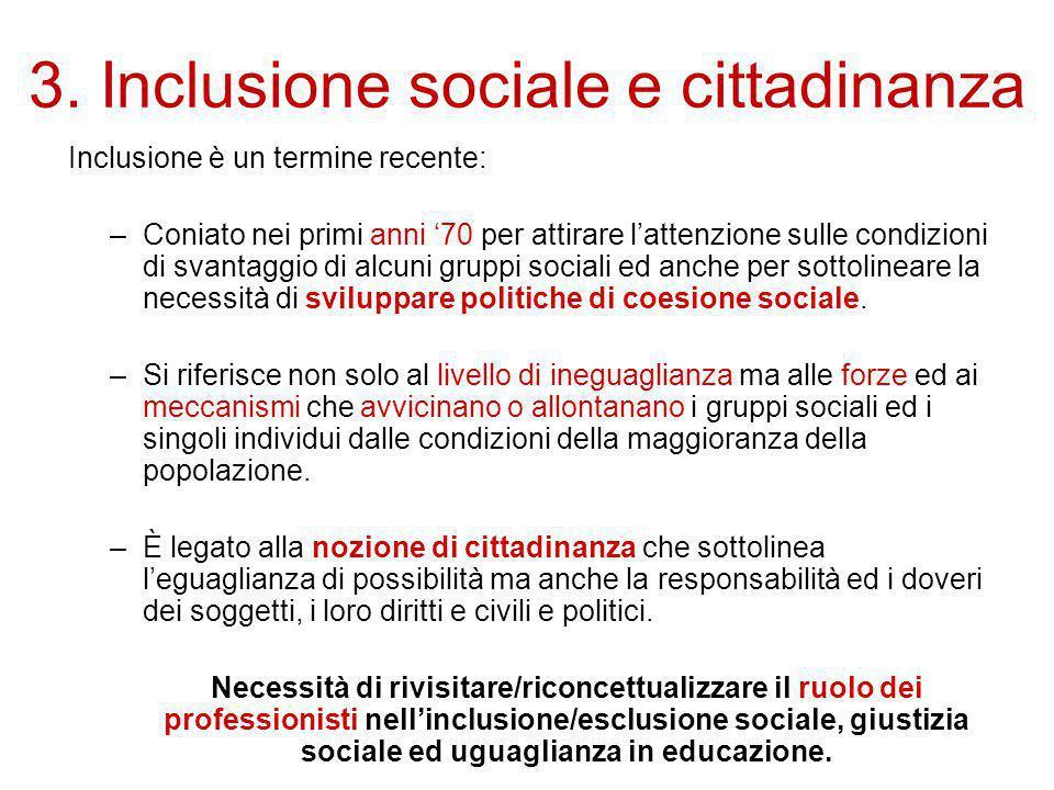 3. Inclusione sociale e cittadinanza