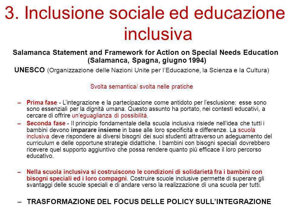 3. Inclusione sociale ed educazione inclusiva