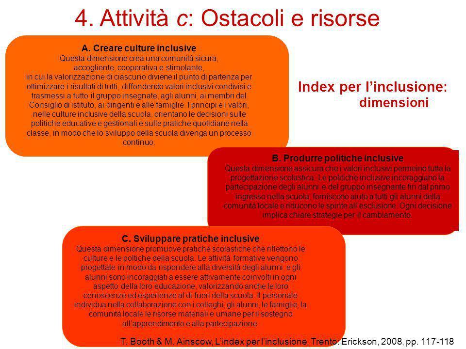 4. Attività c: Ostacoli e risorse