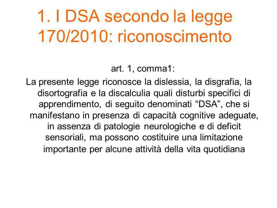 1. I DSA secondo la legge 170/2010: riconoscimento