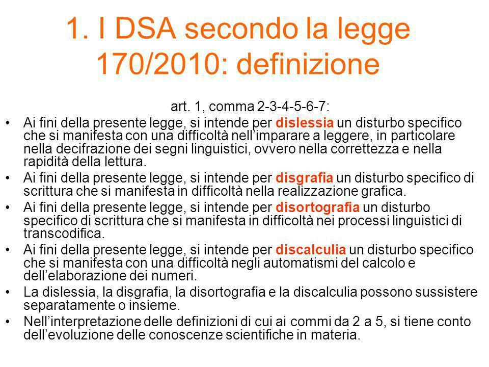 1. I DSA secondo la legge 170/2010: definizione
