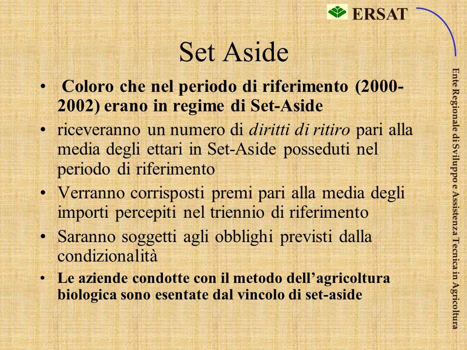 Set Aside Coloro che nel periodo di riferimento (2000-2002) erano in regime di Set-Aside.