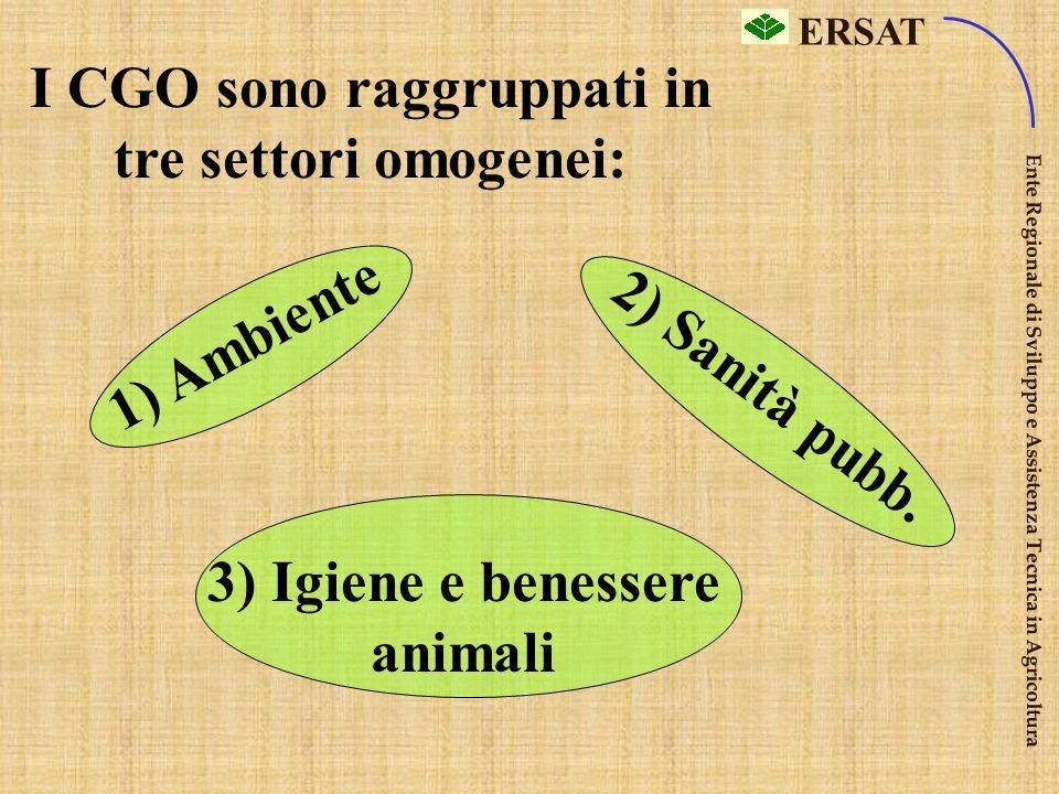 I CGO sono raggruppati in tre settori omogenei: