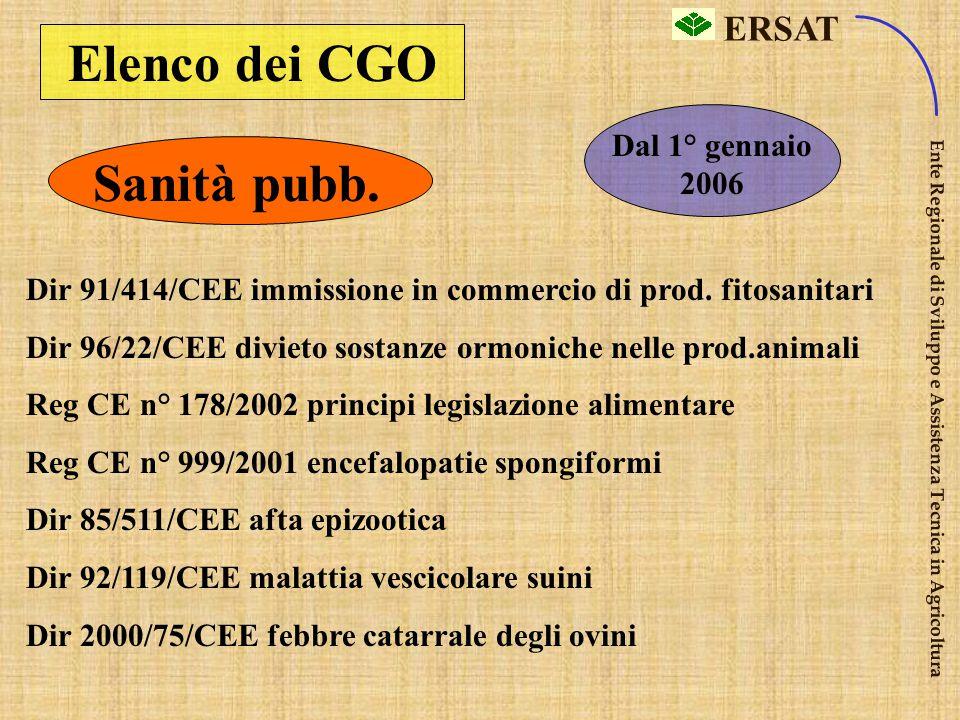Elenco dei CGO Sanità pubb.