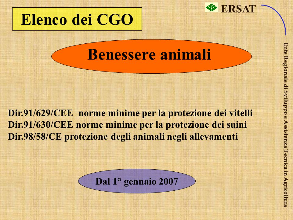 Elenco dei CGO Benessere animali