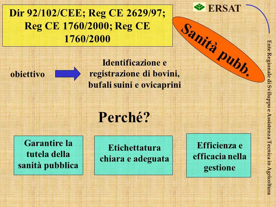 Dir 92/102/CEE; Reg CE 2629/97; Reg CE 1760/2000; Reg CE 1760/2000