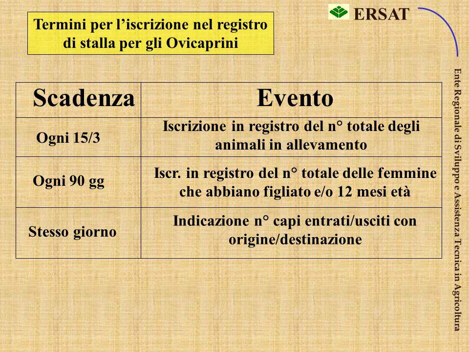 Termini per l'iscrizione nel registro di stalla per gli Ovicaprini
