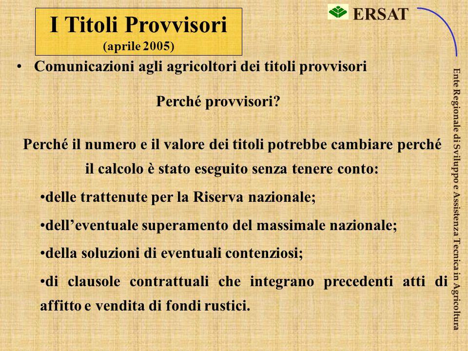 I Titoli Provvisori (aprile 2005)