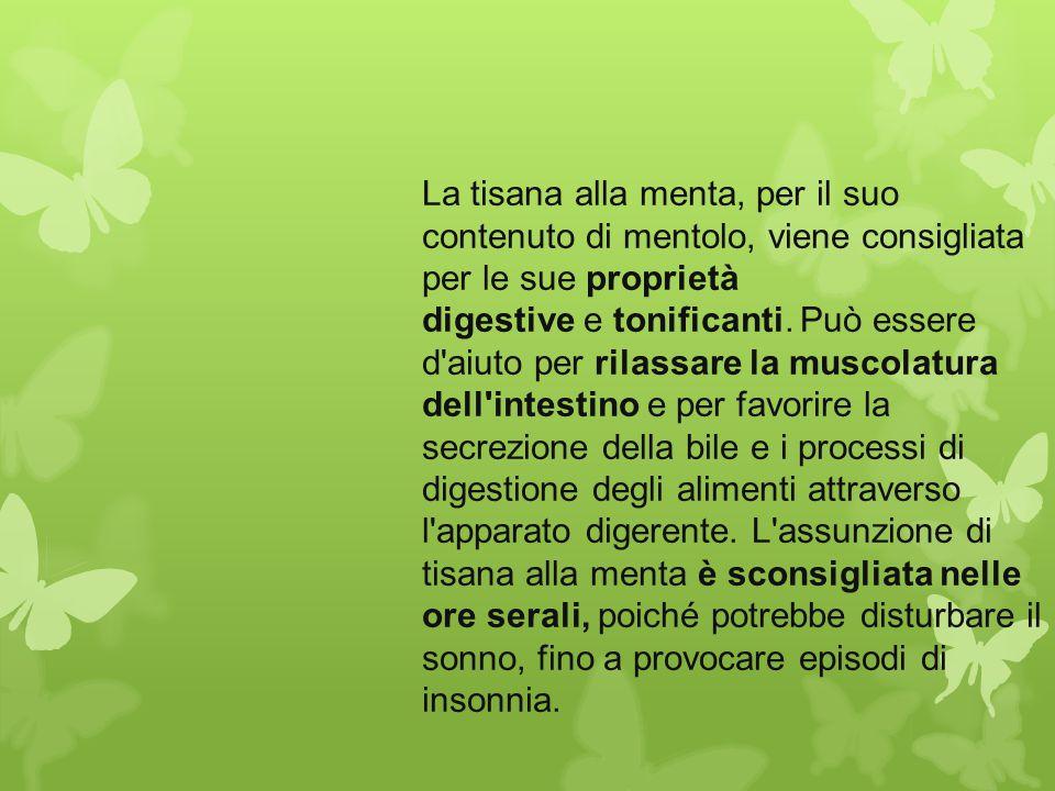 La tisana alla menta, per il suo contenuto di mentolo, viene consigliata per le sue proprietà digestive e tonificanti.