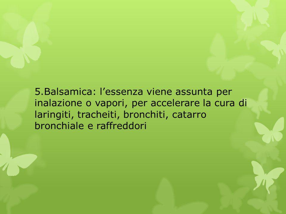 5.Balsamica: l'essenza viene assunta per inalazione o vapori, per accelerare la cura di laringiti, tracheiti, bronchiti, catarro bronchiale e raffreddori