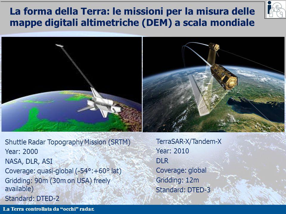 La forma della Terra: le missioni per la misura delle mappe digitali altimetriche (DEM) a scala mondiale
