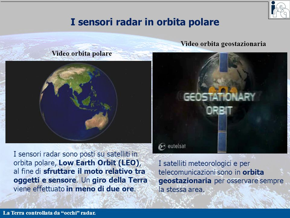 I sensori radar in orbita polare
