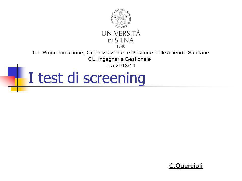 I test di screening C.Quercioli