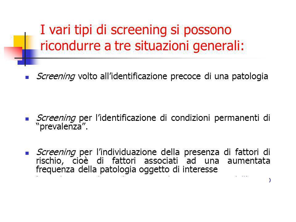 I vari tipi di screening si possono ricondurre a tre situazioni generali: