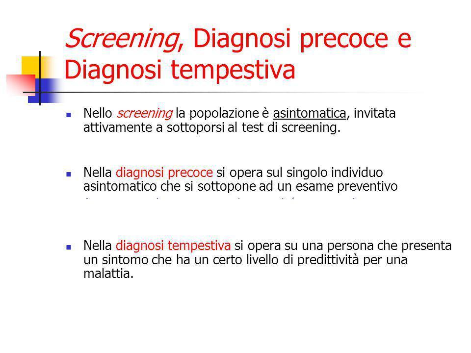 Screening, Diagnosi precoce e Diagnosi tempestiva