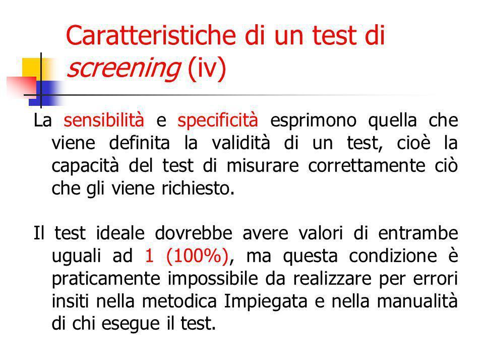 Caratteristiche di un test di screening (iv)