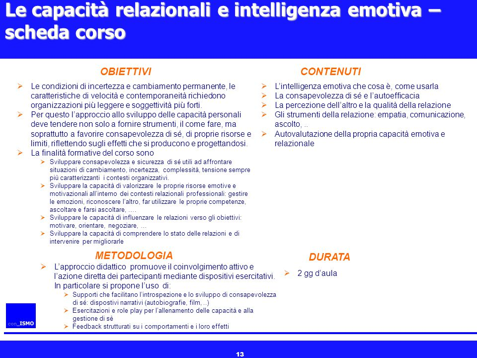 Le capacità relazionali e intelligenza emotiva – scheda corso
