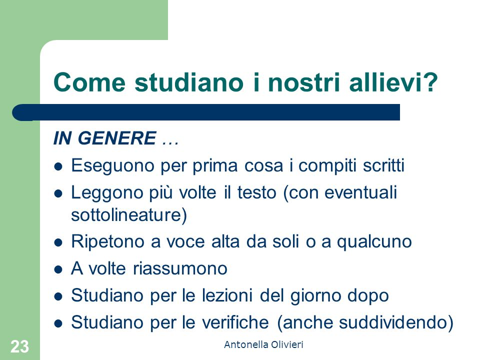 Come studiano i nostri allievi