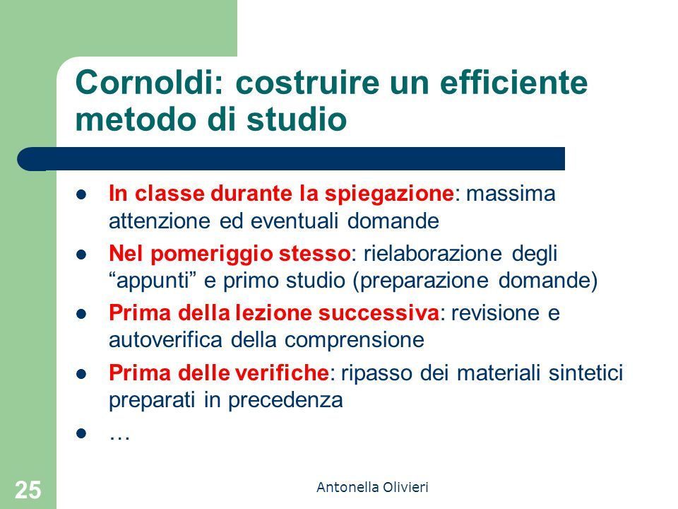 Cornoldi: costruire un efficiente metodo di studio