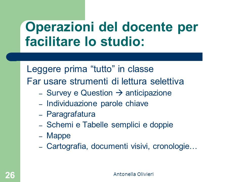 Operazioni del docente per facilitare lo studio: