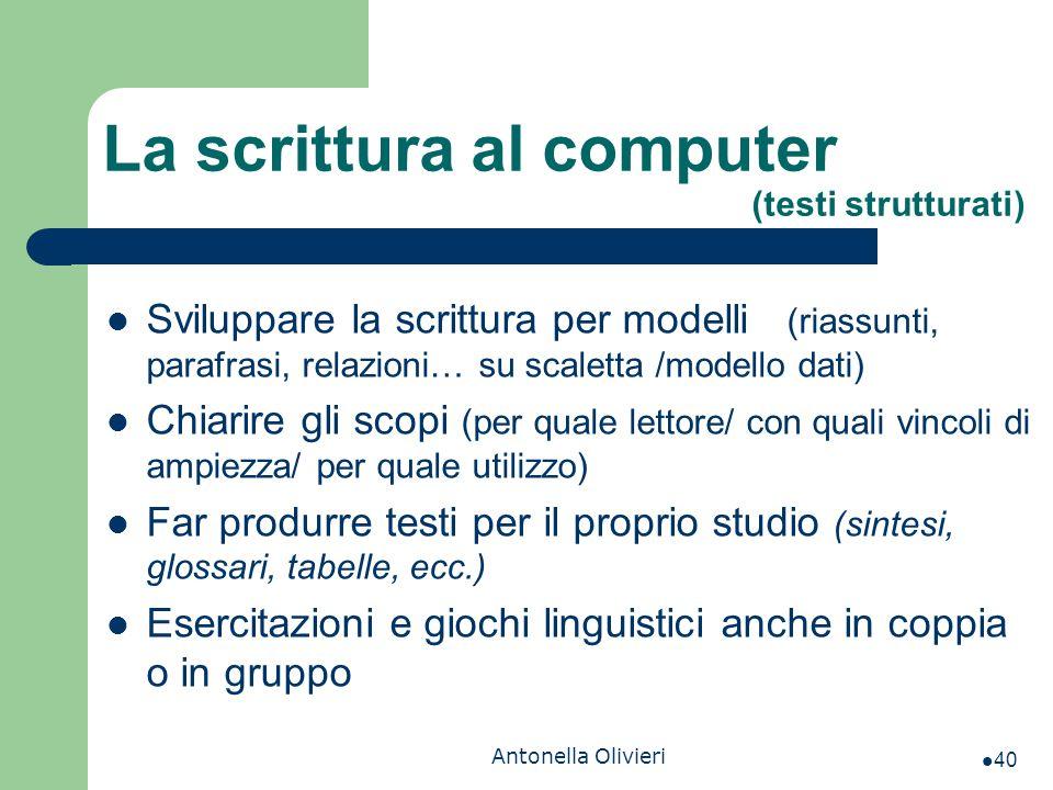 La scrittura al computer (testi strutturati)