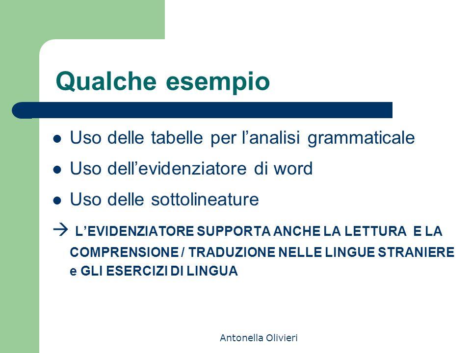 Qualche esempio Uso delle tabelle per l'analisi grammaticale