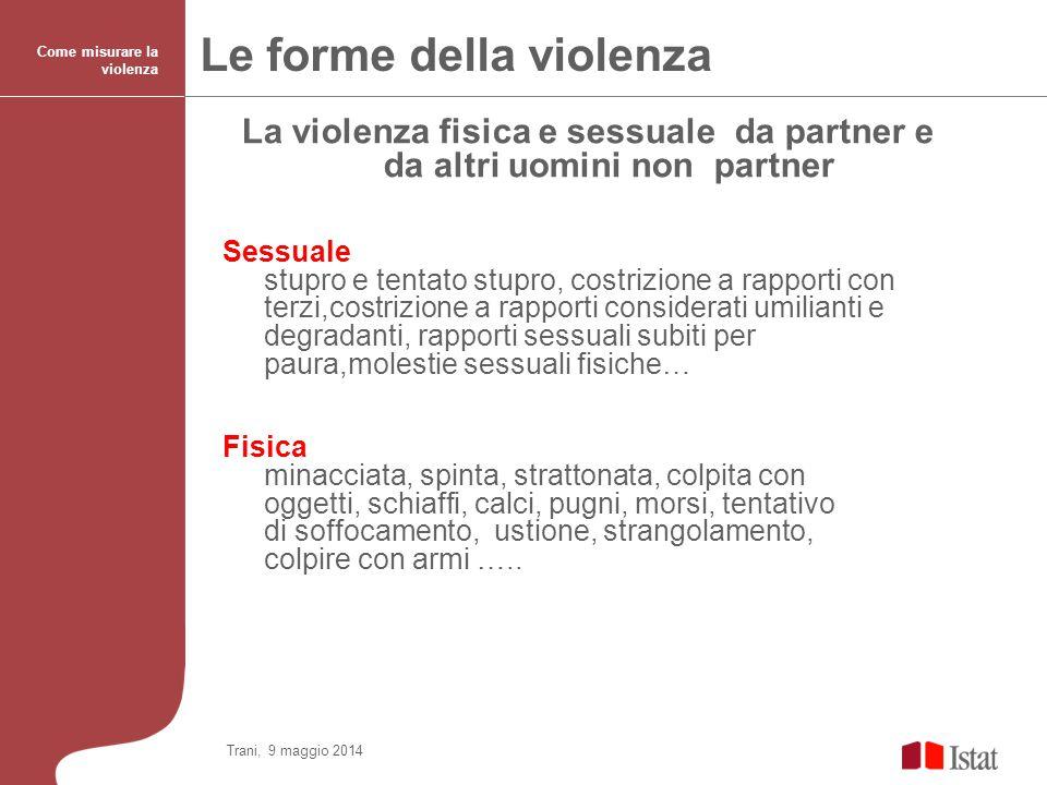 La violenza fisica e sessuale da partner e da altri uomini non partner