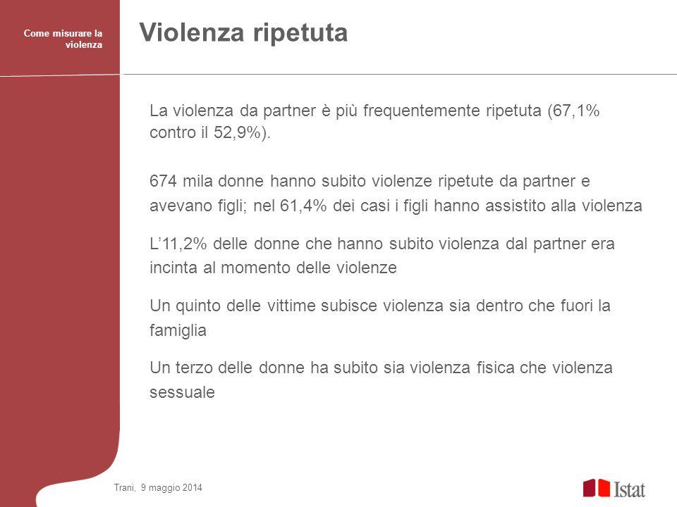 Violenza ripetuta Come misurare la violenza. La violenza da partner è più frequentemente ripetuta (67,1% contro il 52,9%).