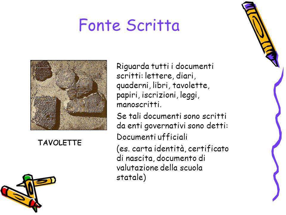 Fonte Scritta Riguarda tutti i documenti scritti: lettere, diari, quaderni, libri, tavolette, papiri, iscrizioni, leggi, manoscritti.