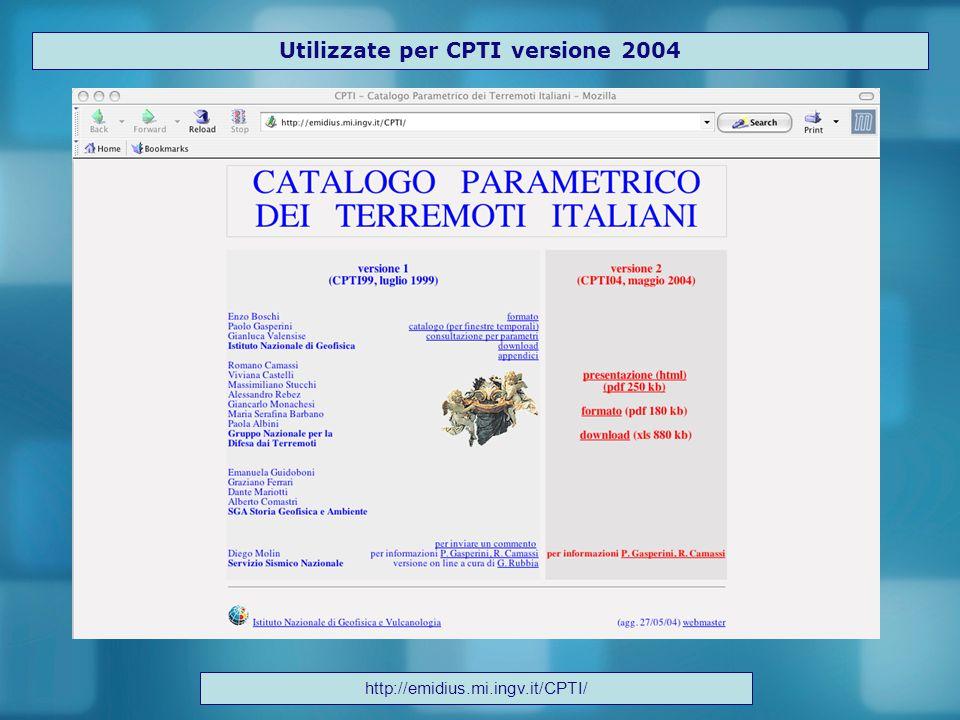 Utilizzate per CPTI versione 2004