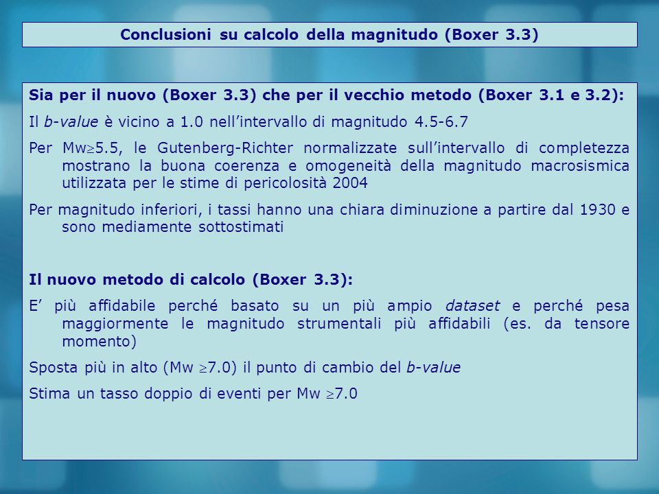Conclusioni su calcolo della magnitudo (Boxer 3.3)