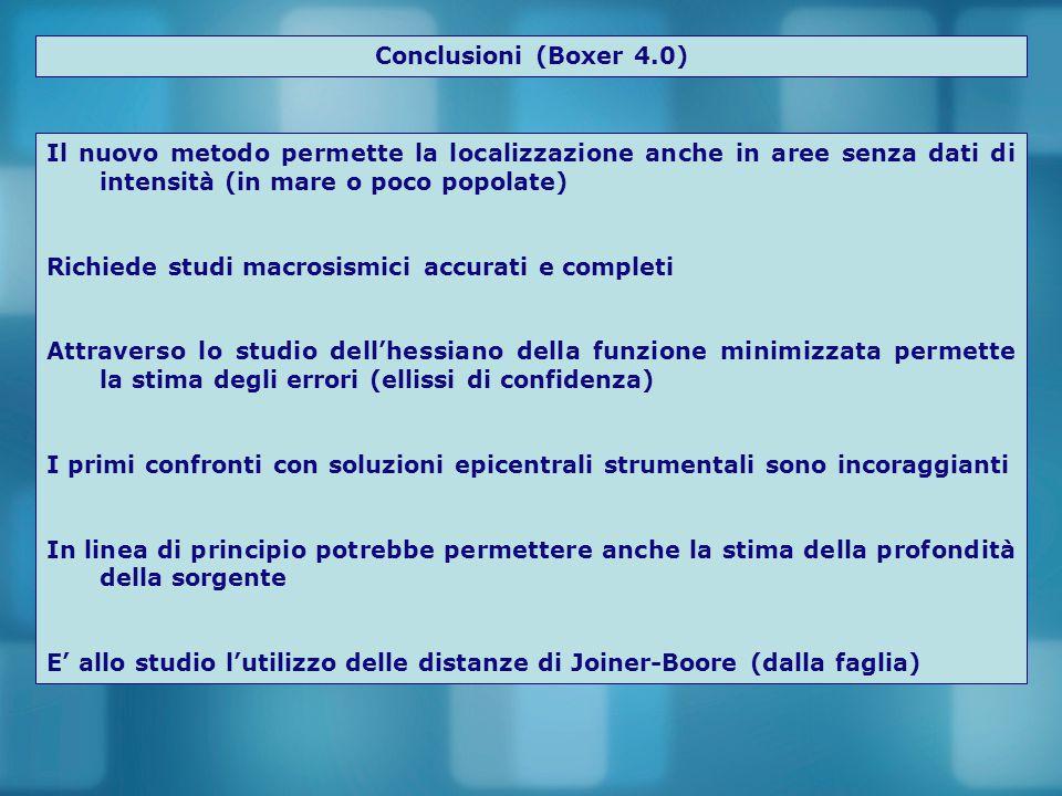 Conclusioni (Boxer 4.0) Il nuovo metodo permette la localizzazione anche in aree senza dati di intensità (in mare o poco popolate)
