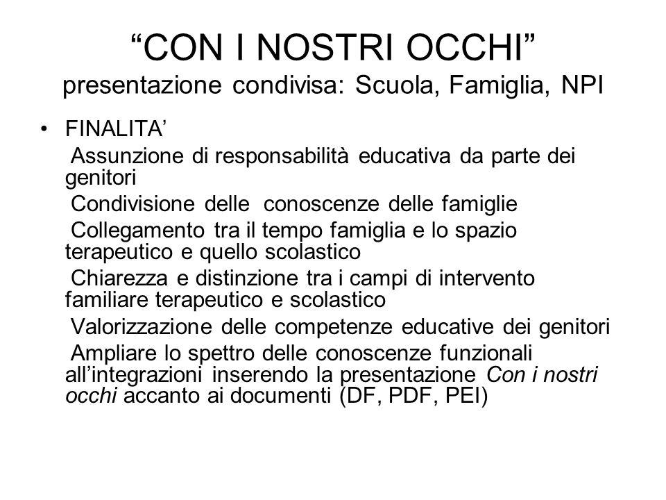 CON I NOSTRI OCCHI presentazione condivisa: Scuola, Famiglia, NPI