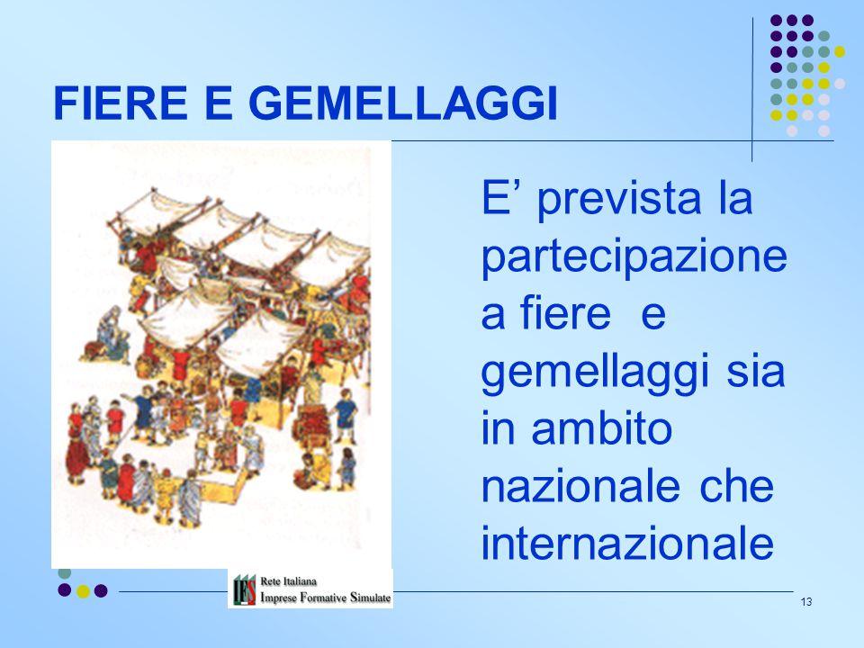 FIERE E GEMELLAGGI E' prevista la partecipazione a fiere e gemellaggi sia in ambito nazionale che internazionale.
