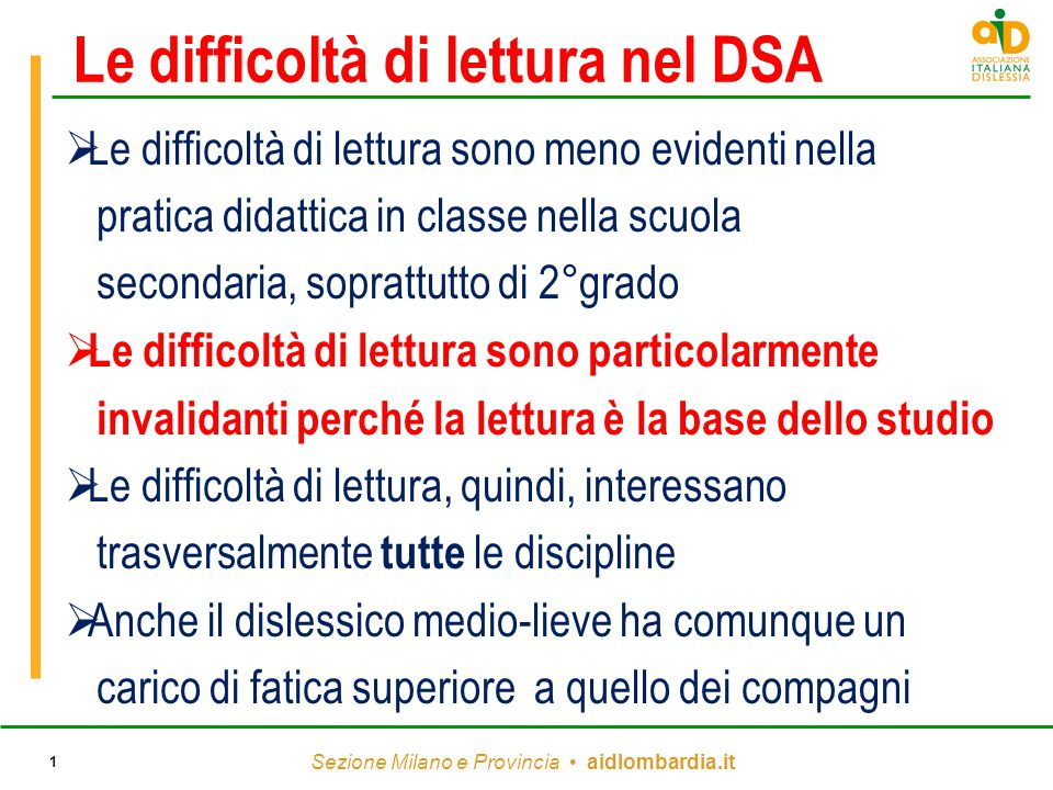 Le difficoltà di lettura nel DSA