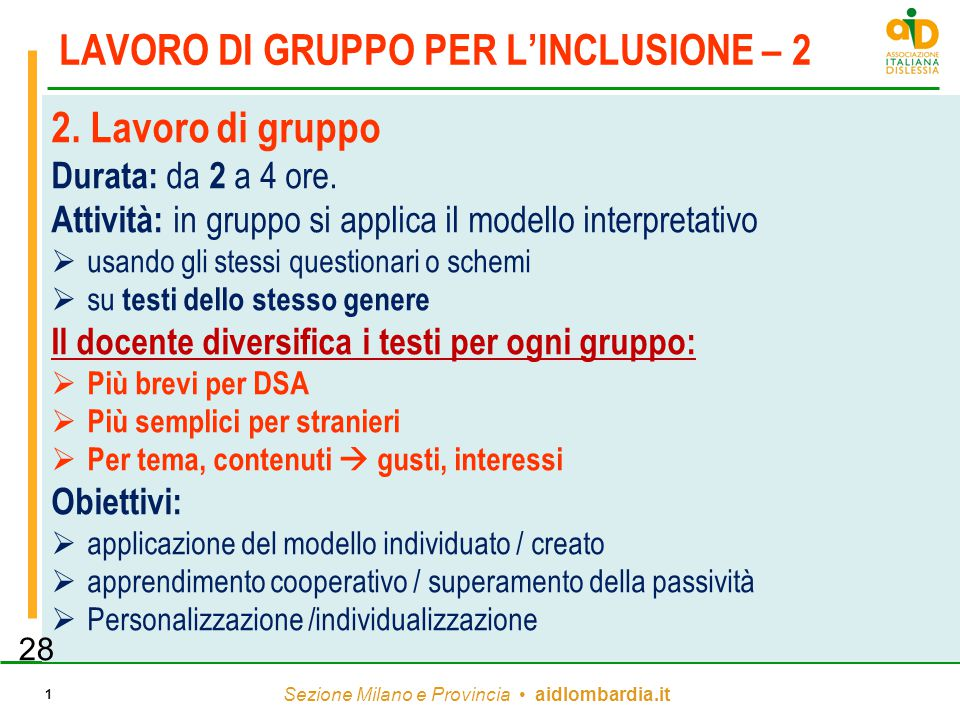 LAVORO DI GRUPPO PER L'INCLUSIONE – 2