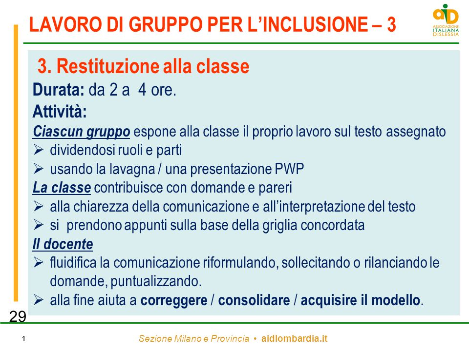 LAVORO DI GRUPPO PER L'INCLUSIONE – 3