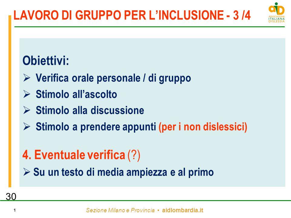 LAVORO DI GRUPPO PER L'INCLUSIONE - 3 /4