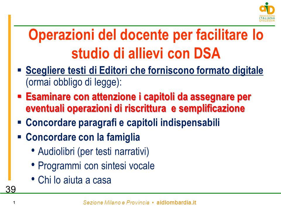 Operazioni del docente per facilitare lo studio di allievi con DSA