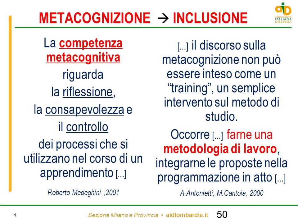 METACOGNIZIONE  INCLUSIONE