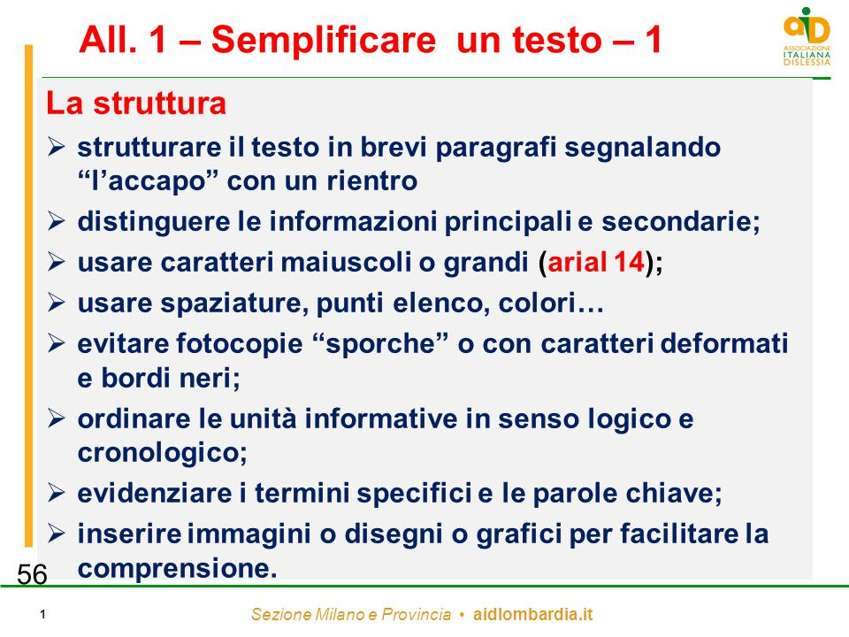 All. 1 – Semplificare un testo – 1